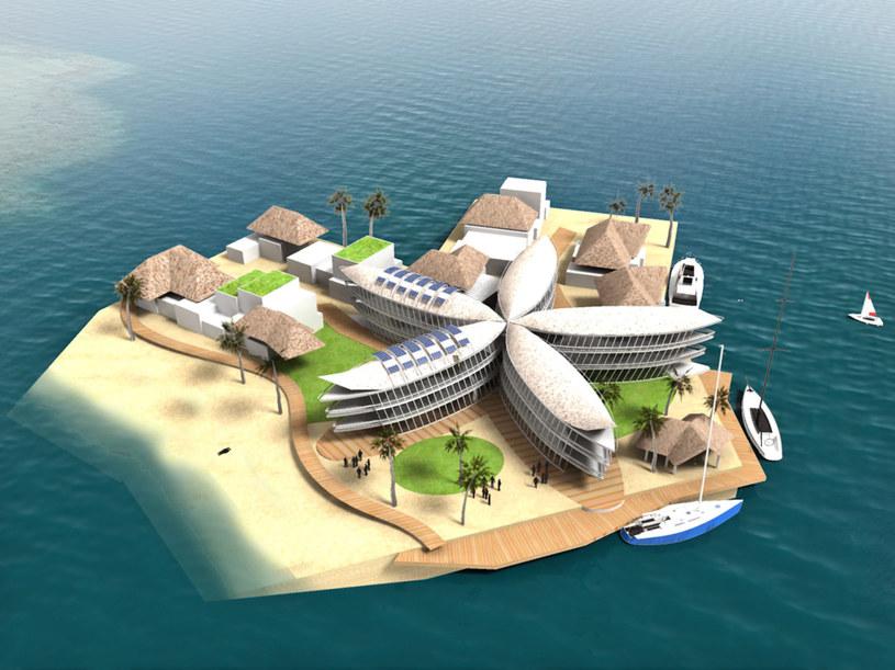 Pływająca wyspa inspirowana kultura polinezyjską /Credit The Seasteading Institute and Bart Roeffen /materiały prasowe