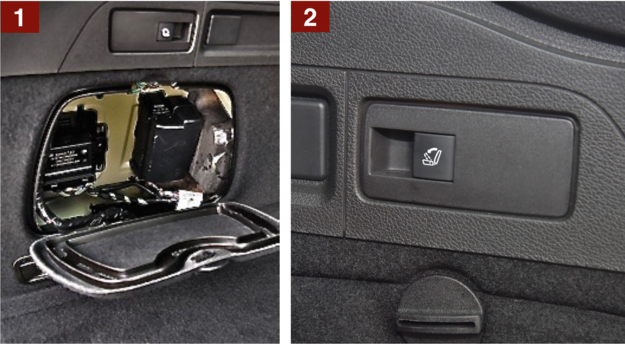 Po bokach schowki [1] i przyciski [2] do zwalniania blokad dzielonego oparcia kanapy. /Motor