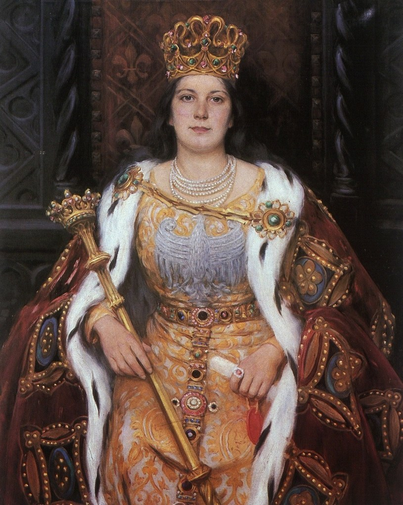 Po części to zasługą królowej Jadwigi było to, że tron w przyszłości przeszedł w ręce jej imienniczki i prawnuczki: Jadwigi Andegaweńskiej. Na ilustracji portret władczyni pędzla Aleksandra Augustynowicza (domena publiczna) /Ciekawostki Historyczne