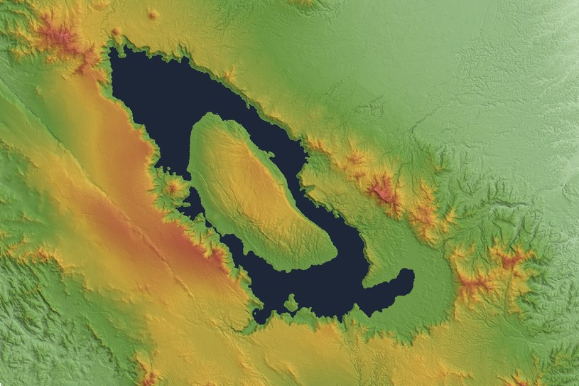 Po erupcji wulkanu powstało ogromne jezioro, długie na ok. 100 km i szerokie na 30 km /domena publiczna