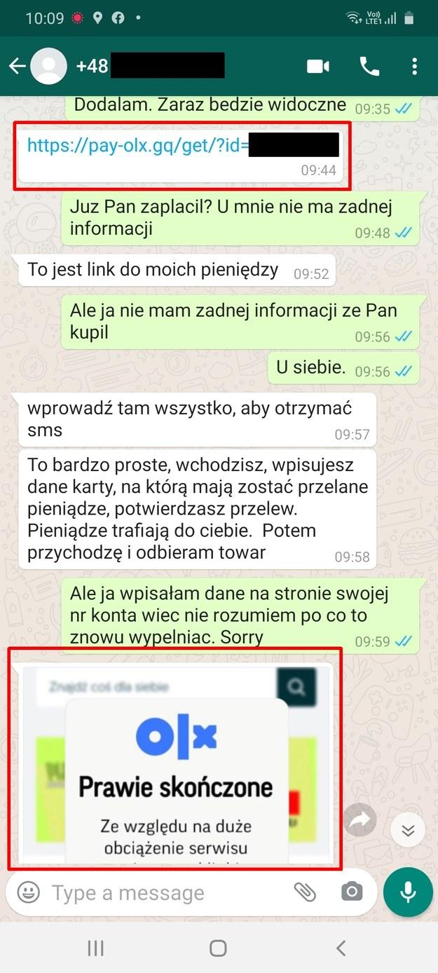 Po kliknięciu w link zostaniemy poproszeni o podanie wrażliwych danych! / blog.olx.pl /