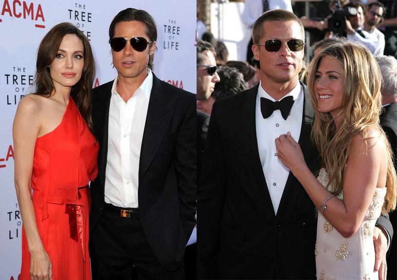 Po lewej Brad z Angeliną Jolie, po lewej z byłą żoną - Jennifer Aniston  /Getty Images/Flash Press Media