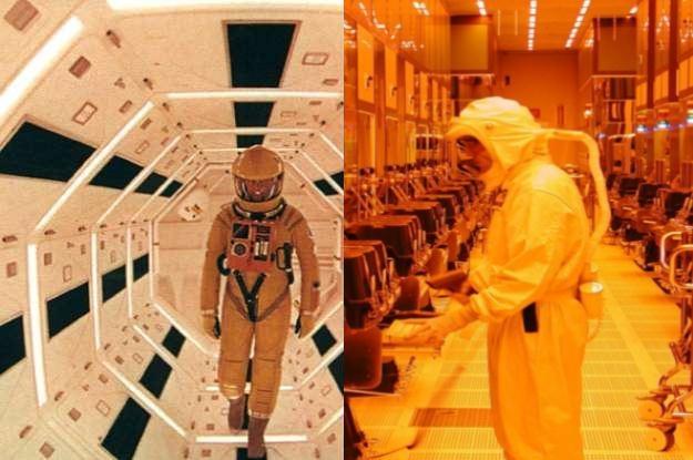 """Po lewej kadr z """"Odyseji kosmicznej 2001"""", po prawej - fabryka Intela w Lexlip. Jest podobnieństwo? /INTERIA.PL"""