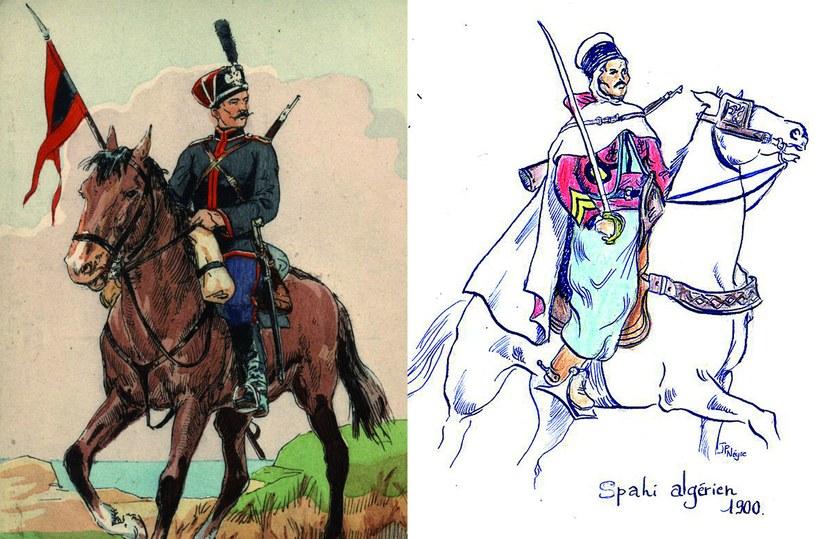 Po lewej: Kawalerzysta ochotniczego pułku konnego z Krymu, Rosja 1914; Po prawej: Spahis – północnoafrykański kawalerzysta  w służbie Francji w uniformie paradnym /Odkrywca