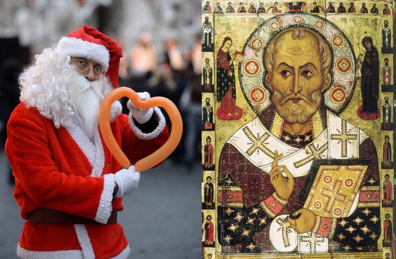 Po lewej: komercyjny wizerunek św. Mikołaja, po prawej: ikona św. Mikołaja Cudotwórcy z Mirry Aleksa Pietrowa z 1294 roku /żródło: AFP/ www.belygorod.ru /