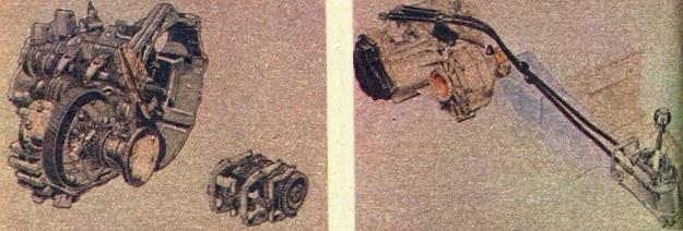 Po lewej: nowy sposób przesuwania synchronizatorów w skrzyni przekładniowej, po prawej: ten rodzaj łączenia przekładni z dźwignią zmiany biegów ma wszelkie szanse wyprzeć układ ciągieł sztywnych, gdyż nie przenosi drgań i tym samym hałaśliwości. /Motor