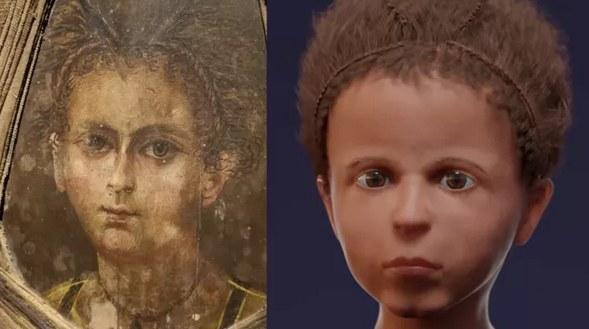 Po lewej portret mumii, a po prawej twarz zrekonstruowana w 3D. Fot. Nerlich AG, et al. PLOS One (2020); CC BY 4.0 /materiały prasowe