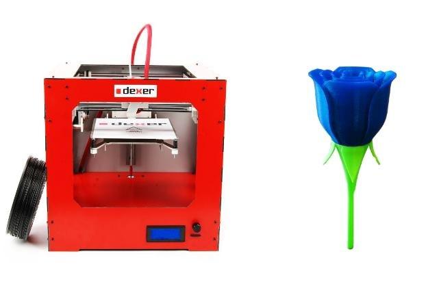 Po lewej przykładowa drukarka 3D (DEXER 3D mini, koszt około 5 tys. zł). Po prawej - to, co można dzięki niej wydrukować (w powiększeniu) /materiały prasowe