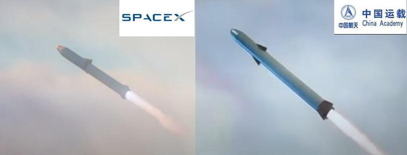 Po lewej rakieta z filmiku SpaceX, po prawej - chiński odpowiednik z materiału wideo (zrzuty ekranu z YouTube'a) /YouTube