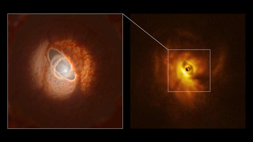 Po lewej wizja artystyczna pofałdowanego dysku protoplanetarnego, po prawej zdjęcie tego miejsca /materiały prasowe
