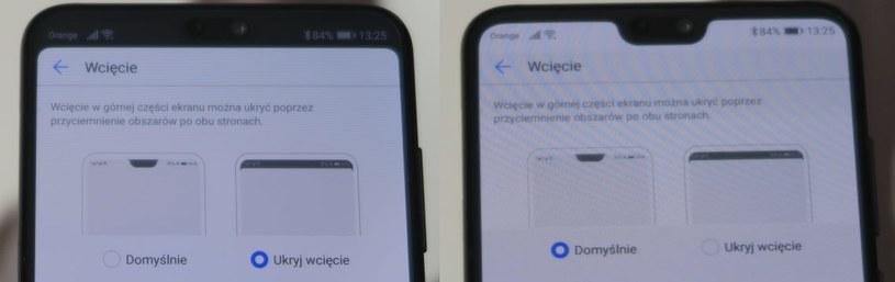Po lewej - wycięcie zostało schowane. Po prawej - widoczne w całej okazałości /INTERIA.PL
