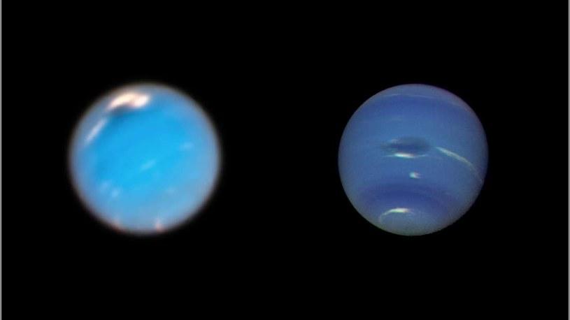 Po lewej zdjęcie burzy wykonane przez Kosmiczny Teleskop Hubble'a, a po prawej przez sondę Voyager 2 /materiały prasowe