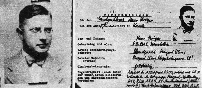 Po lewej - zdjęcie Hansa Krügera z 1939 r. Dołączono je do akt personalnych (po prawej) sporządzonych przez nadrzędną instancję władz hitlerowskich. Krüger był wówczas sędzią sądu specjalnego w Chojnicach, co wynika z dokumentu. Fot. Tadeusz Galec, Archiwum historiachojnic. com /Deutsche Welle/Interia/Wirtualna Polska