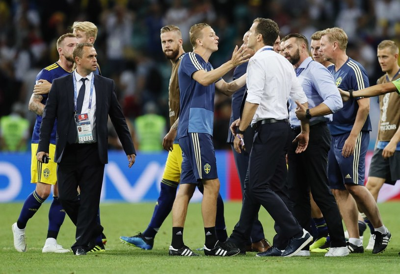 Po meczu Niemców ze Szwedami doszło do przepychanek na murawie /PAP/EPA