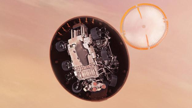 """Po odrzuceniu osłony termicznej łazik będzie """"wybierał"""" dokładne miejsce lądowania / NASA/JPL-Caltech /Materiały prasowe"""