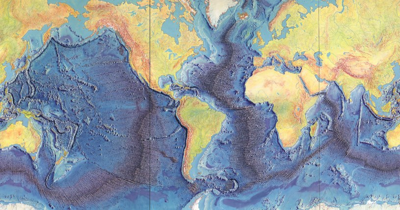 Po ośmiu miesiącach od rozpoczęcia prac nad interpretacją pomiarów sonarowych Marie Tharp mogła naszkicować okrążający Ziemię, prawie ciągły ryft /INTERIA/materiały prasowe