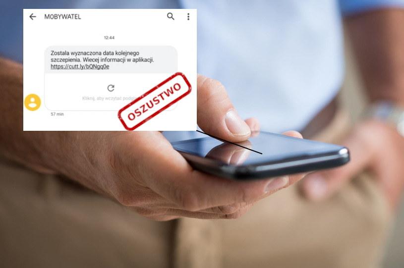 """Po Polsce krąży kolejny groźny SMS - podszywa się pod mObywatela, jego treść to """"Została wyznaczona data kolejnego szczepienia. Więcej informacji w aplikacji (tu link)"""" /123RF/PICSEL"""