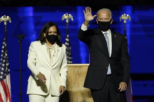 Po prawej prezydent - elekt Joe Biden , po lewej wiceprezydent - elekt Kamala Harris /Andrew Harnik/POOL /PAP/EPA