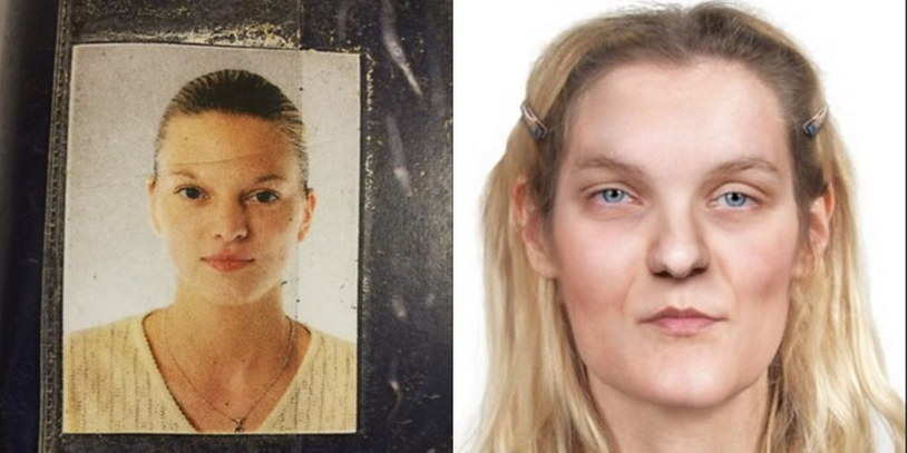 Po prawej rekonstrukcja twarzy dokonana przez specjalistów z zakresu medycyny sądowej. Po lewej zdjęcie kobiety, jakie znalazła bezdomna w pobliżu miejsca odkrycia zwłok. /policja.pl /Policja