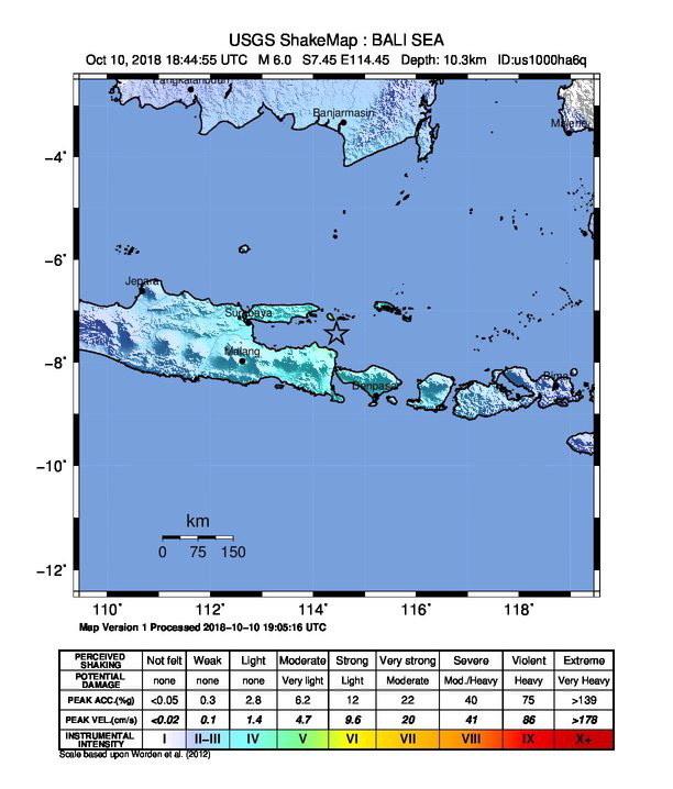 Po trzęsieniu ziemi, do którego doszło w Indonezji nie wydano ostrzeżeń o tsunami, nie ma informacji o ofiarach i zniszczeniach /USGS /PAP/EPA