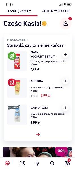Po wejściu do aplikacji zobaczymy ekran z podpowiedzią produktów, które niedawno kupowaliśmy /materiały prasowe