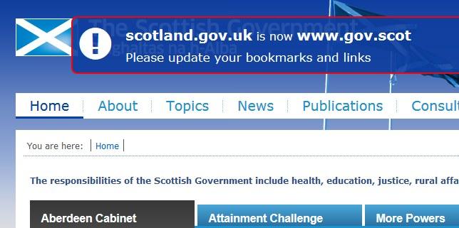 Po wejściu na stronę gov.scot wyświetla się komunikat informujący o zmianie domeny /INTERIA.PL