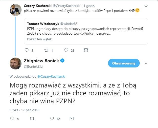 Po zmianie zasad współpracy z mediami na Twitterze wywiązała się ciekawa dyskusja między Cezarym Kucharskim a prezesem Zbigniewem Bońkiem. /