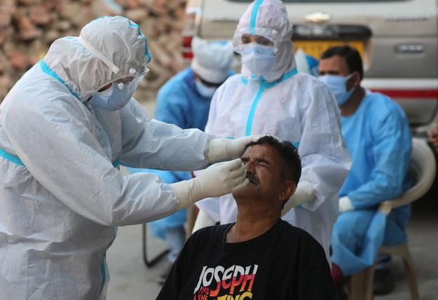 Pobieranie wymazu do testów na koronawirusa /FAROOQ KHAN  /PAP/EPA