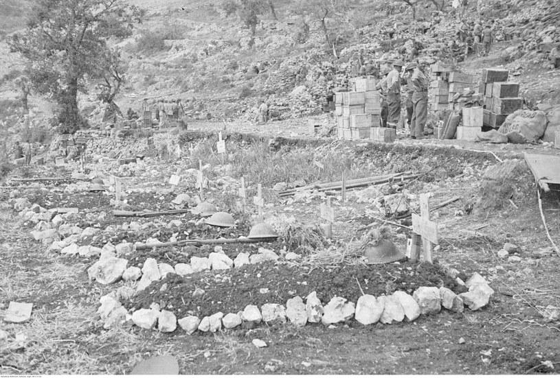 Pobojowisko po bitwie o Monte Cassino. Groby polskich żołnierzy /Z archiwum Narodowego Archiwum Cyfrowego