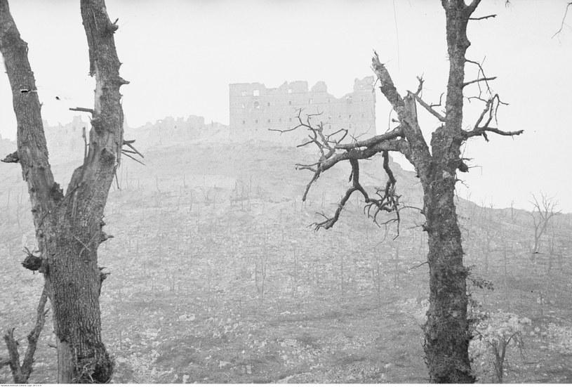 Pobojowisko po bitwie o Monte Cassino. W tle klasztor /Z archiwum Narodowego Archiwum Cyfrowego