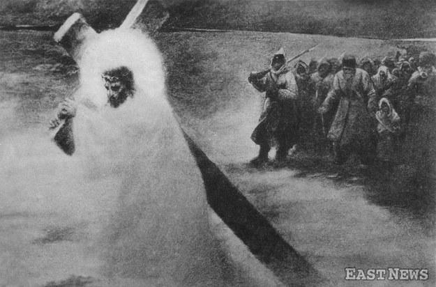 """""""Pochód na Sybir"""", malował Artur Grottger, pocztówka sprzed 1918 r. /Muzeum Niepodległości /East News"""