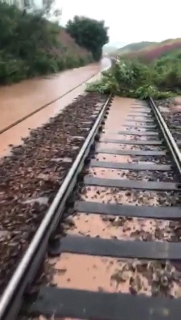 Pociąg wpadł na zwały ziemi, zalegające na torach w wyniku ulewnych deszczy, wskutek czego wykoleiły się trzy z czterech jego wagonów /NETWORK RAIL SCOTLAND HANDOUT /PAP/EPA