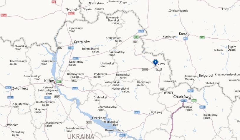 Pociąg zderzył się z mikrobusem w obwodzie sumskim na wschodzie Ukrainy. /Mapy.interia.pl /