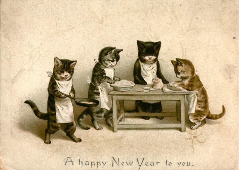 Pocztówka 1880 roku, koty przygotowujące ciasto ze szczura /Getty Images/Flash Press Media
