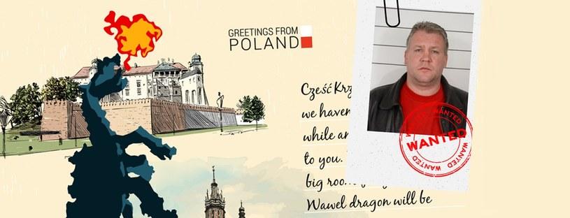 Pocztówka Europolu z wizerunkiem poszukiwanego Polaka /eumostwanted.eu /INTERIA.PL