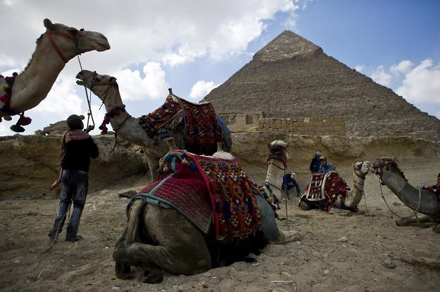 """Pod piramidami w Gizie egipscy przewodnicy nawołują do """"powrotu turystów"""" /AFP"""