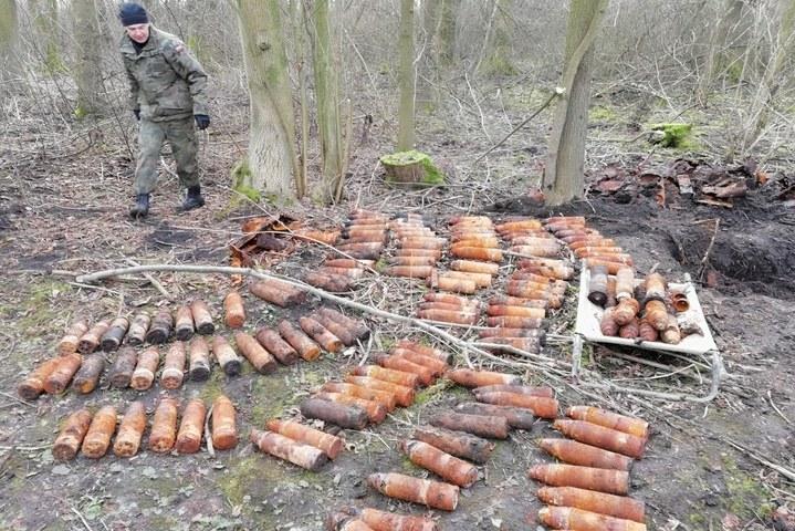Pod ziemią znajdowało się aż 41 skrzyń z rakietami. /Policja Dolnośląska /Policja