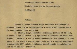Podanie Haliny Szymańskiej do dyrektora Departamentu Kadr MSW /z archiwum warszawskiego IPN /
