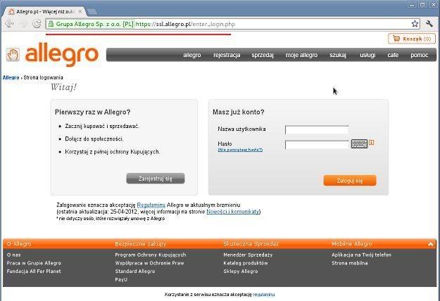 Podczas logowania do Allegro należy się upewnić, ze jesteśmy na oryginalnej stronie /materiały prasowe