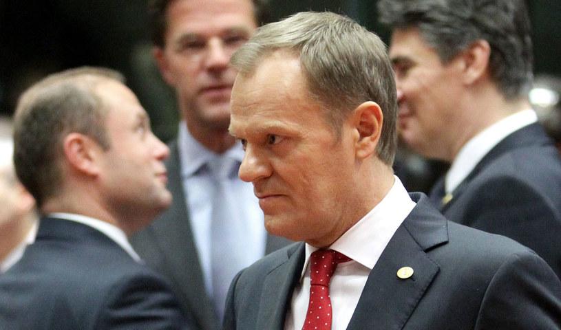 """Podczas szczytu UE w Brukseli doszło do """"dość ostrej"""" dyskusji - powiedział Tusk. /OLIVIER HOSLET /PAP/EPA"""