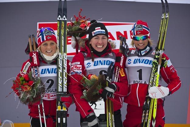 Podium po biegu na 10 km (od lewej): Johaug, Kowalczyk i Skofterud /AFP