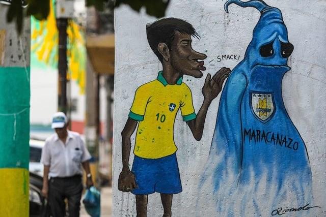 Podobizna Neymara na jednej z brazylijskich ulic /Antonio Lacerda /PAP/EPA