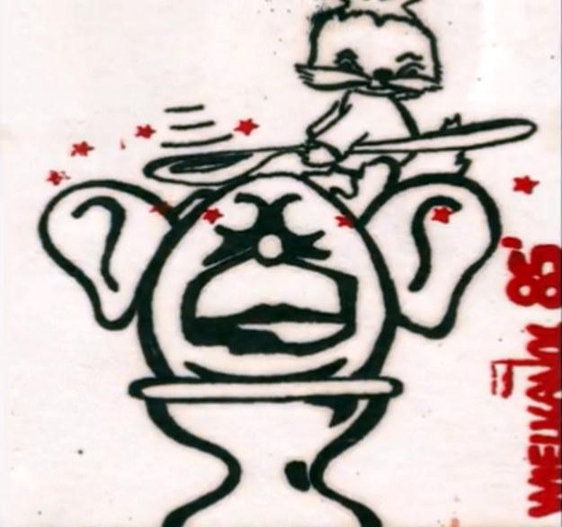 Podziemna pocztówka wielkanocna z 1985 r., z elementem satyrycznym, wyobrażającym rzecznika rządu PRL Jerzego Urbana /Archiwum autora