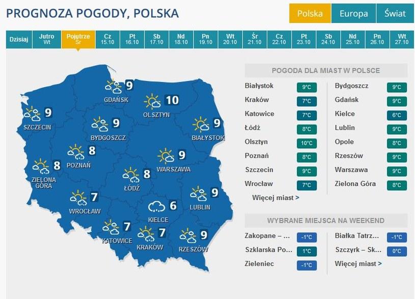 Pognoza pogody na środę /INTERIA.PL