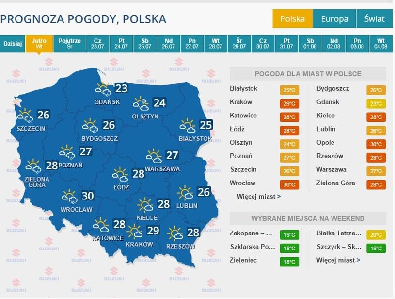 Pogoda na 21 lipca /INTERIA.PL