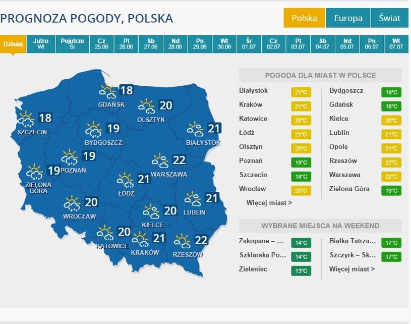 Pogoda na 22 czerwca /INTERIA.PL