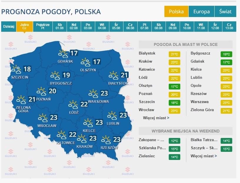 Pogoda na 30 lipca /INTERIA.PL