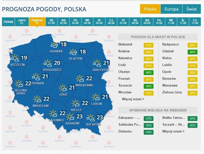 Pogoda na 31 lipca /INTERIA.PL