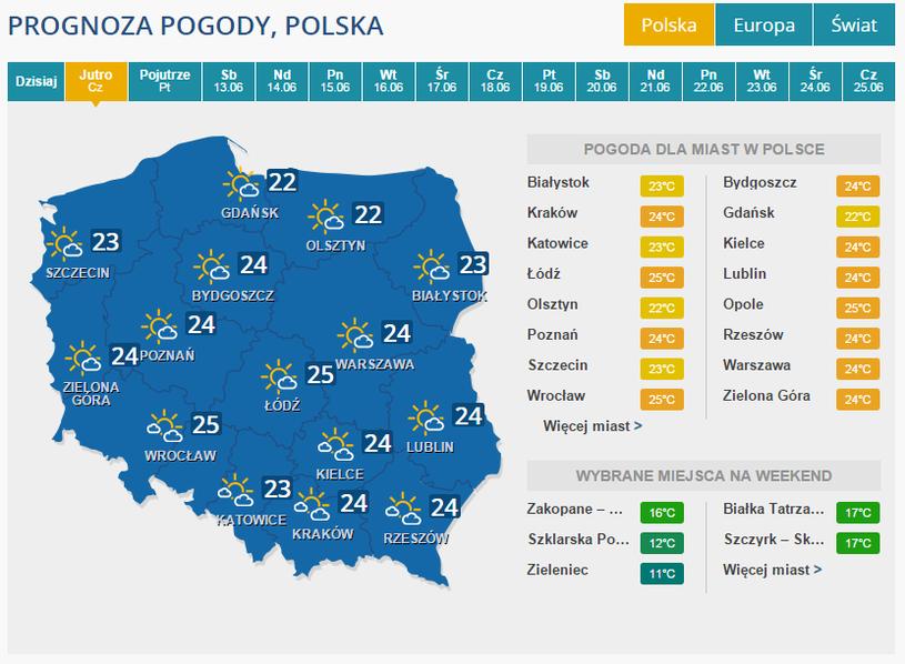 Pogoda na czwartek /INTERIA.PL