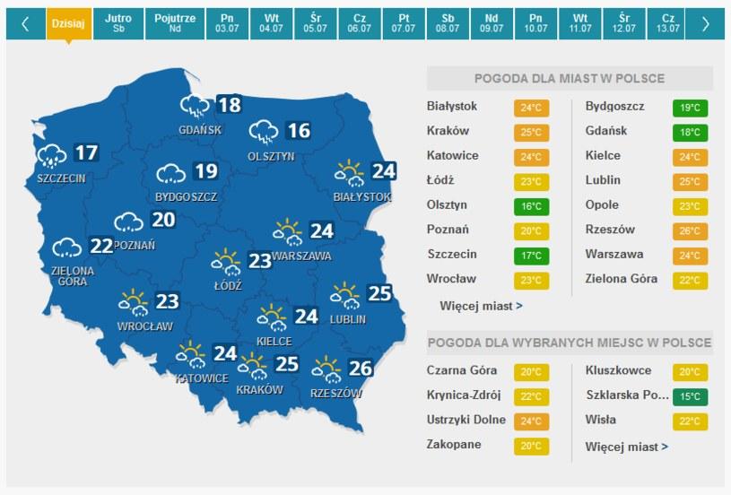 Pogoda na dziś /INTERIA.PL
